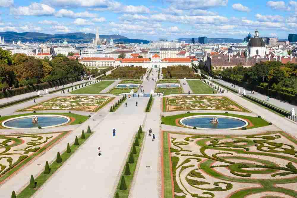Belvedere Palace Gardens in Vienna in Austria