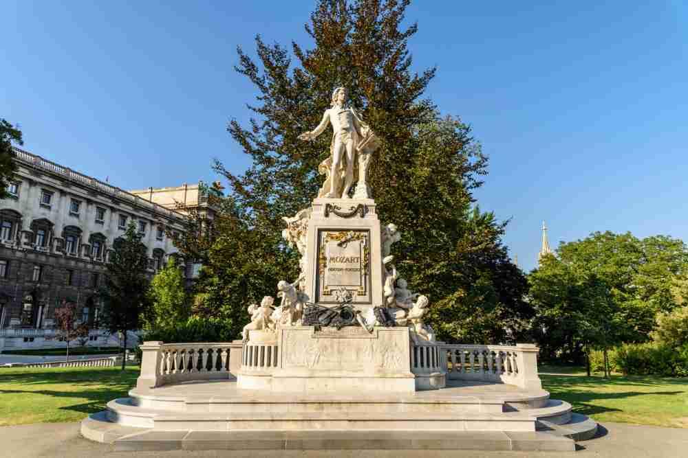Burggarten & Wolfgang Amadeus Mozart Monument in Vienna in Austria