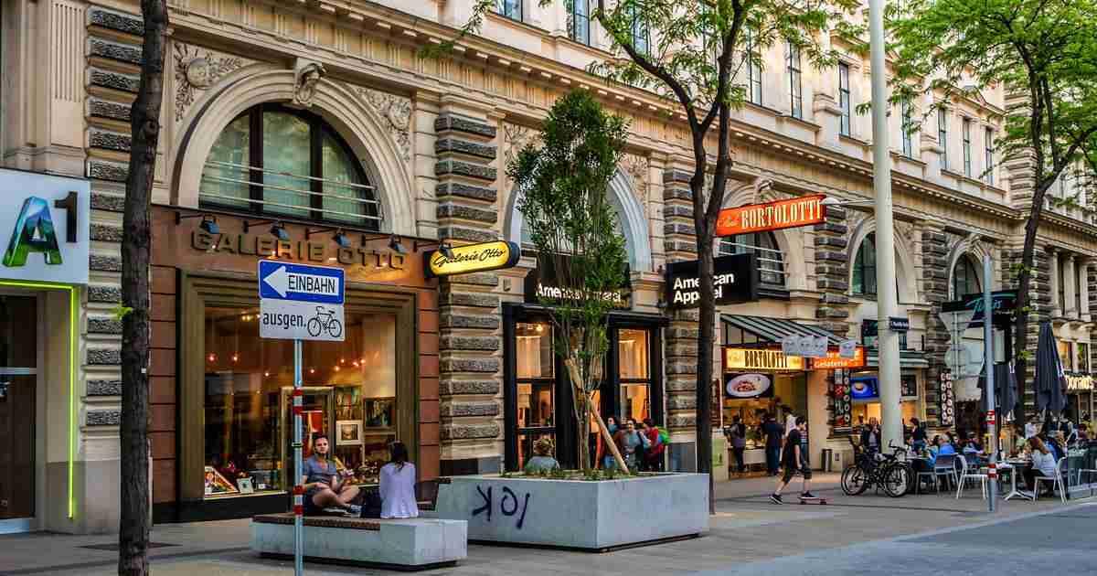 Shopping streets in Vienna in Austria
