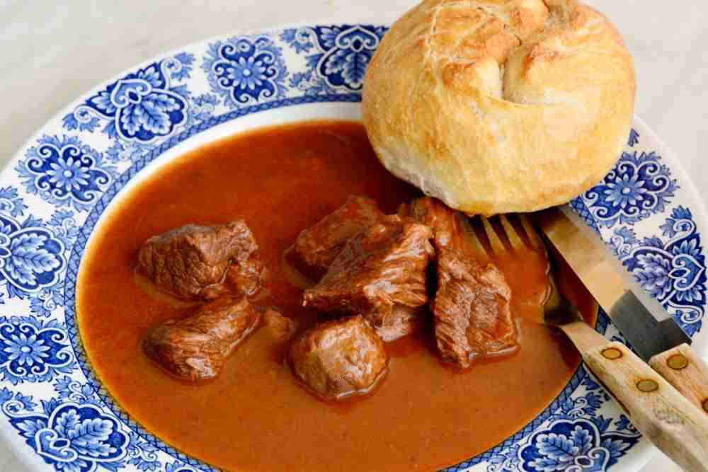Viennese goulash soup in Vienna in Austrai