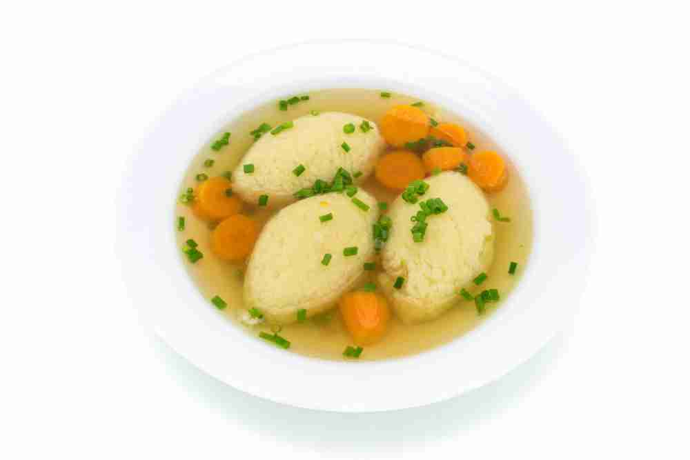 Viennese semolina dumpling soup in Vienna in Austria