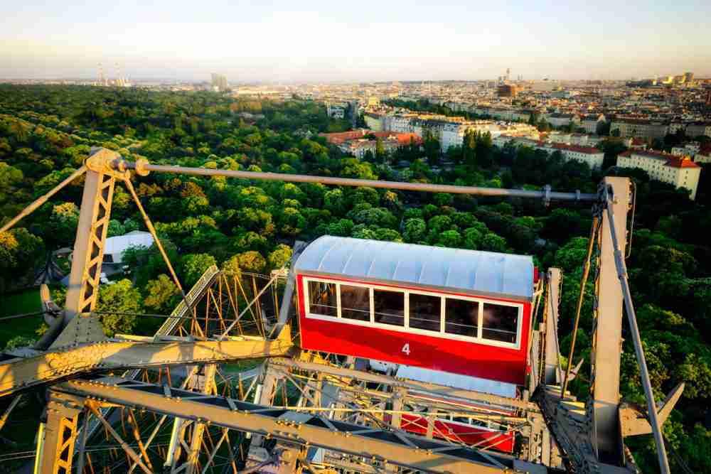 Fahrt mit dem Riesenrad in Wien in Austria