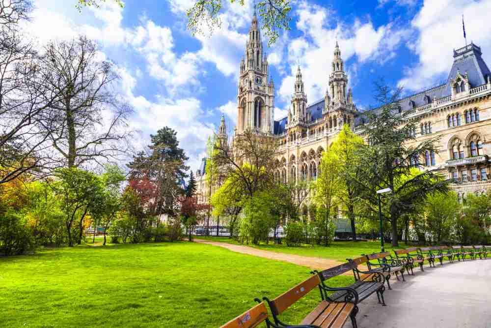 Rathauspark in Vienna in Austria